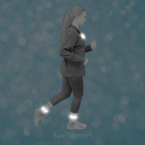 funflector Snap-Reflektorband erhöht die Sichtbarkeit im Dunkeln und kann an Armen, Beinen, Taschen, Rucksäcken und anderen Gegenständen befestigt werden. Für Jogger, Fahrradfahrer, Skateboardfahrer