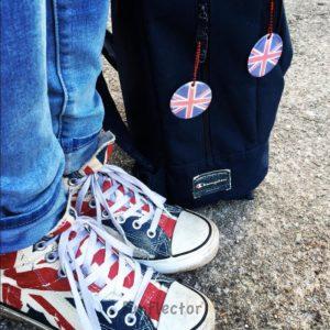 Union Jack Großbritannien Flagge Reflektor-Anhänger. Damit Fußgänger und Radfahrer besser im Dunkeln gesehen werden können. Für Schulranzen, Rucksäcke, Jacken...