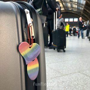 LGBT Pride Regenbogen Reflektor-Anhänger in herzform und oval. Für Fußgänger und Radfahrer. Leicht an Koffern, Rucksäcken, Jacken und Reißverschlüssen zu befestigen.