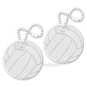 Volleyball Reflektor-Anhänger für Sportler und sportbegeisterte Fußgänger und Radfahrer. Können leicht an Sporttasche, Rucksack, Sportanzug und Reißverschlüssen jeder Art befestigt werden.
