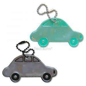 funflector Auto Reflektoren-Anhänger in grün und blau. Für große und kleine Autoliebhaber. Leicht an Taschen oder Kleidung zu befestigen.
