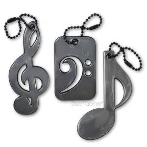 Notenschlüssel Reflektor-Anhänger für Musiker und Musikliebhaber. Musik-Trio enthält Basschlüssel, Violinschlüssel und Achtelnote. Leicht an Notentaschen, Instrumentenkoffern und Jacken zu befestigen.
