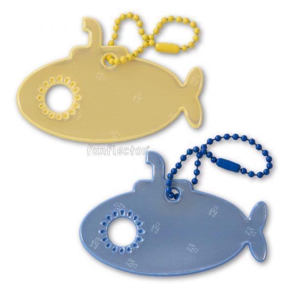 Gelbe und blaue U-Boot Reflektor-Anhänger für Kinder oder Erwachsene. Leicht an Ranzen, Taschen, Rucksäcken, Jacken und anderer Kleidung zu befestigen.