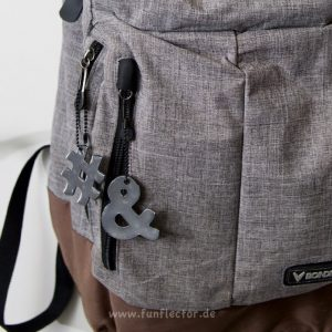 Rucksack mit Et-Zeichen und Hashtag Reflektor-Anhänger. Für Spaziergänger, Läufer und Fußgänger geeignet. Einfach an Taschen, Rucksäcken oder Jacken anbringen.